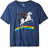Marvel Men's Deadpool Riding A Unicorn On A Rainbow T-Shirt, Denim Heather, Large