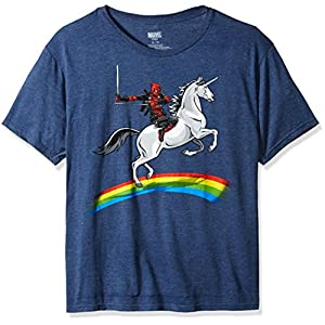 Marvel Deadpool Riding A Unicorn On A Rainbow T-Shirt