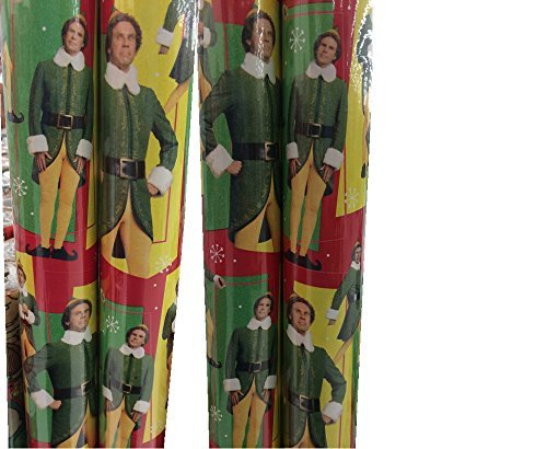 The Elf Movie with Will Ferrell Theme Gift Wrap - Elf- Wrapping Paper 20 sq ft. (1 Roll)