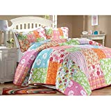 2 Piece Multicolor Girls Floral Quilt Twin Set, All Over Bohemian Square Themed Bedding, Bright Color Hippy Print, Patchwork, Plaid, Stripes Hippie Indie Style, Vibrant Green Orange Blue Pink