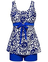 Ecupper Women's 2 Pieces Swimwear Plus Size Floral Tankini Swimsuit with Shorts