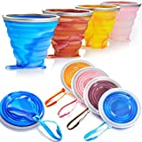 Collapsible Travel Cup,Silicone Folding Camping Cup with Lids, Expandable Colorful Drinking Mug Set for Outdoor Camping Hiking- BPA Free [9.22oz]