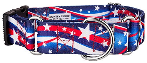 Country Brook Petz | 1 1/2 Inch Star Spangled Martingale with Deluxe Buckle - Large