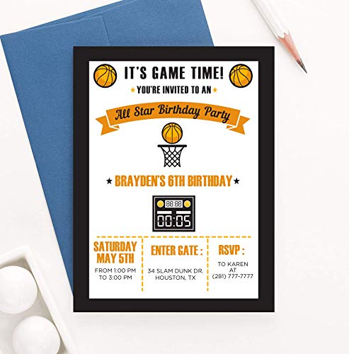 Basketball Birthday Invitation for Boys, Ticket Style Basketball Invitations for Kids Party, Your choice of Quantity, Age, Info and Envelope Color