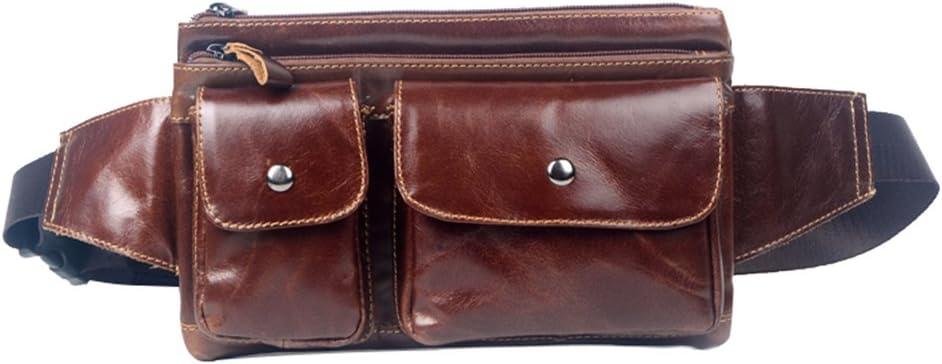 Genda 2Archer Bolso de la Cintura los Hombres de Cuero, Bolso del Cruz-Cuerpo, la Bolsa Riñonera (Marrone)