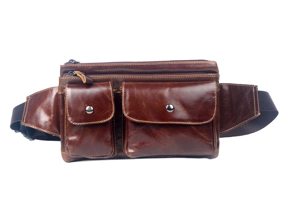 Genda 2Archer Unisex Leather Waist Pack Fanny Bag Travel Bum Bag Hip Belt Purse(Black) LZW034-BK