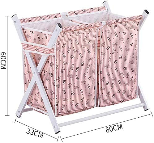 MWPO Paniers à Linge ménage imperméable Oxford Chiffon Pliable Panier Sale vêtements Accessoires Divers Panier de Rangement intérieur Rose (Taille: 60 * 33 * 60cm)