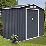 9'x6' Outdoor Garden Storage Shed Tool - Sliding Door Steel- Super big space Dark Gray New