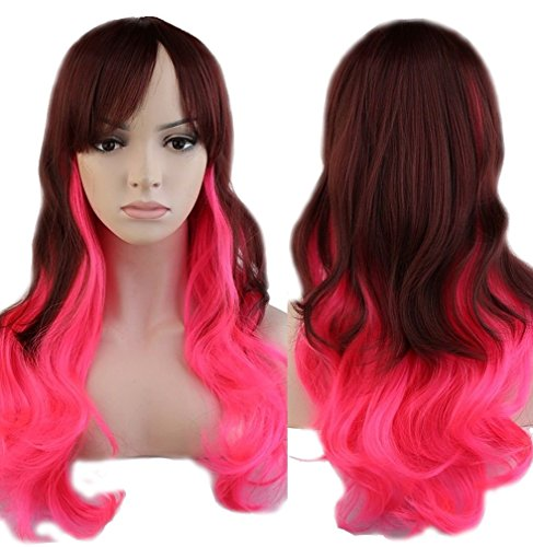 Cosplay Curly Synthetic Wig Ombre Heat Resistant Fiber Full Wig with Bangs Long Layered Natural Wave Wavy Anime Costume Wig Dip-dye 23'' / 58cm for Women Girls(Brown Pink Mix)
