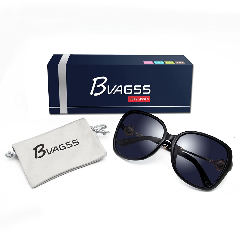 BVAGSS Fashion Retro Sonnenbrille Damen 100% UV-Schutz(WS008) (Black):  Amazon.de: Bekleidung
