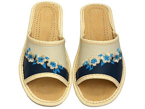 Pantoufles Naturel 35 Bleu 41 Cuir Chaussons Di32 Becomfy Confort Taille wqExIcBC