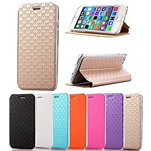 Mini - High Quality Cross Pattern PU Leather Full Body Case for iPhone 6 , Color-Orange