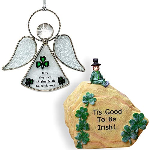 BANBERRY DESIGNS Irish Suncatcher and Decorative Stone - Stained Glass Angel Sun Catcher with Irish Theme - Leprechaun, Green Shamrocks and St. Patrick's Day ()