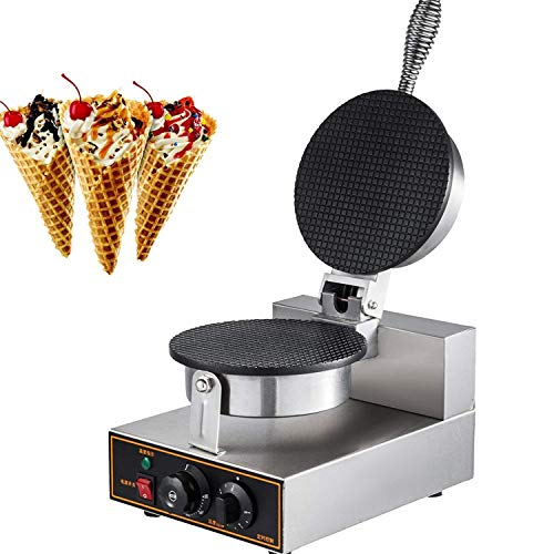 IMPROVED Commercial Egg Roll Bowl Machine 110V Electric Ice Cream Waffle Cone Maker, 1200W, Nonstick Ice Cream Cone Maker Stainless Steel Electric Waffle Cone Maker ()