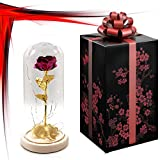 24K Gold Dipped Red Artificial Rose Preserved in Glass Dome with LED Light and Elegant Gift Box, Best Gift for Valentine's Day, Mother's Day, Anniversary, Wedding, Birthday Gift, Treating Yourself