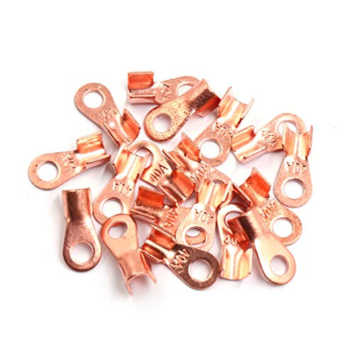 Sourcingmap 20pcs 40A Copper Ring Terminals Lug Battery Cable Connector: