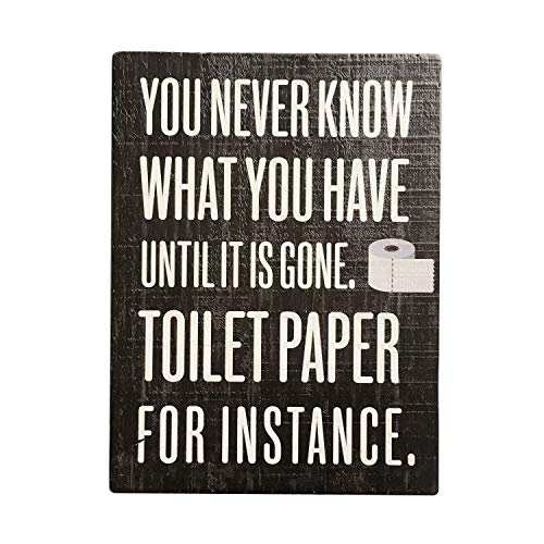 Jessac Distressed Wood Framed Farmhouse Décor Signs 12 X 16 inch Hanging Rustic Wall Art with Funny Saying - You Never Know What You Have Until It's Gone Toilet Paper for Instance (What's The Best Toilet Paper)
