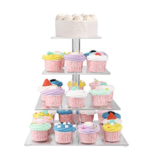 Flexzion 4 Tier Cupcake Stand Holder Tower - Wedding Birthday Party Plastic Pastry Display Tree for Baby Family Afternoon Dessert - Tiered Acrylic Glass Cake Carrier w/Top Tier (4 Tier Clear, Square) by Flexzion (Image #6)
