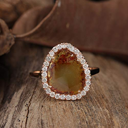 Natural 1.90 Ct Slice Diamond Wedding Ring Solid 14k Rose Gold Wedding Handmade Fine Jewelry Easter Gift For - Ct 1.9 Natural