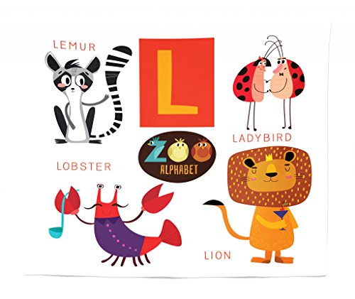 Lunarable ABC Tapestry King Size, Zoo Alphabet in L Letter with Lobster Lion Ladybird Lemur Humor School My Name, Wall Hanging Bedspread Bed Cover Wall Decor, 104