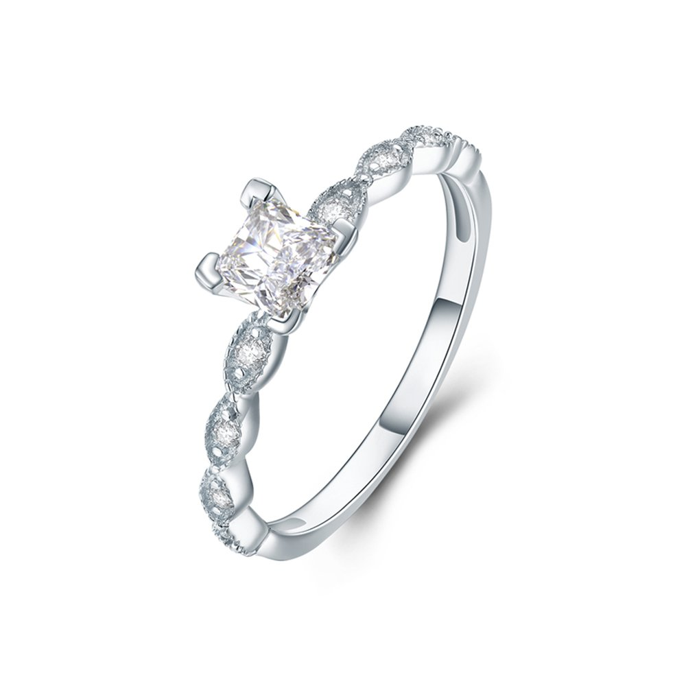Rings Women Exquisite Simple style Fashion Fine Gift Silver Princess Cut Engagement Promise Size 6 7 8 (Size 7)