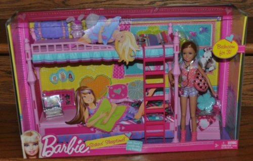 New Fashion Nib Barbie Sisters Sleeptime Bedroom Playset Bunkbed
