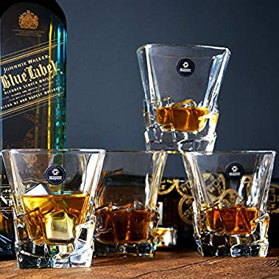 GLASKEY Whisky Glass Set of 4, Lead Free Crystal Old Fashioned Glass, Cocktail Cool Rocks Glass Tumbler for Bourbon, Irish Whisky, Brandy and More, Scotch Glasses