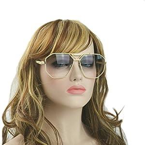 MINCL/unisex aviator rectangular sunglasses special metal bridge (beige, CA)