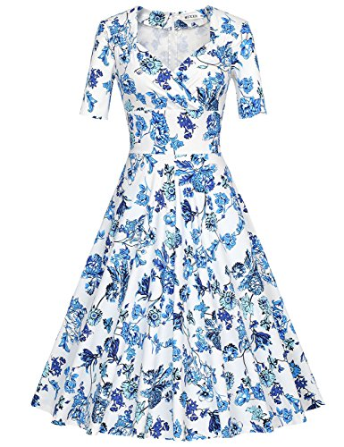 Scollo Donna Sera Bright anni'60 MUXXN Gonna vintage Cocktail Qing a da Corta Blue Manica Big V a Bqd1t1W