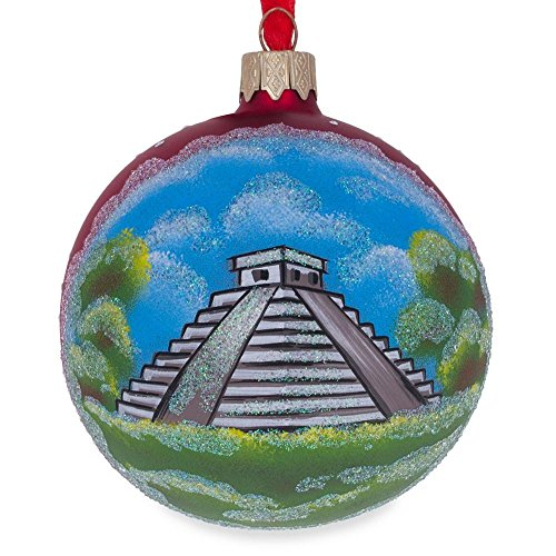 (BestPysanky Mayan Pyramid, Mexico Glass Ball Christmas Ornament 3.25 Inches)