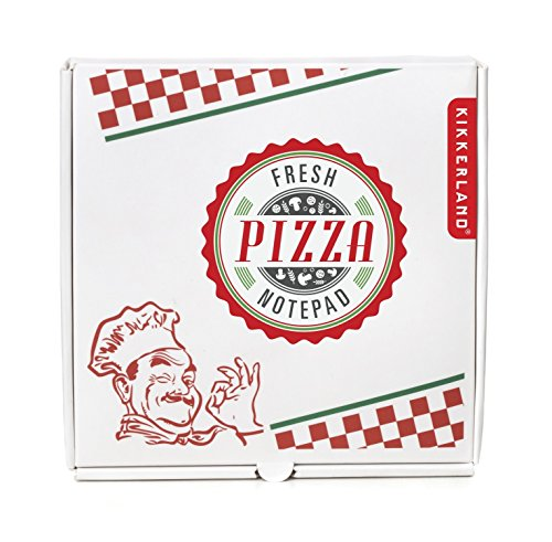 Kikkerland Pizza Notepad, 130 Notes, Box Holder