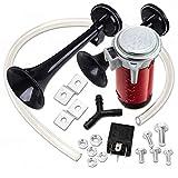 Zone Tech Black Dual Trumpet Kit Air Horn