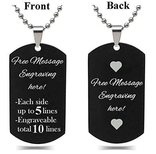 Personalized Custom Message Engraved SMALL Size High Polished Stainless Steel Dog Tag Necklace Pendant with with 24 inch Stainless Steel Chain with velvet Giftpouch and Keyring (Black) -