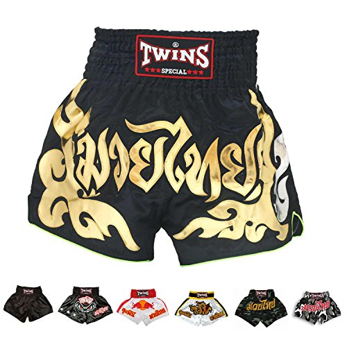 Twins Special Muay Thai Boxing Shorts (TBS-49 Black/Gold,XL)