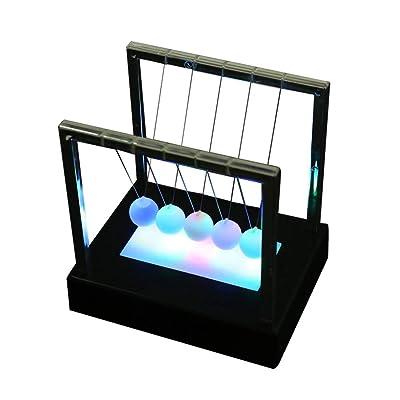 Vosarea Cradle Desktop Gadget LED Multi-Color Change Shine Light Ball Balance Ball Physics Science Toy Desk Decoration: Toys & Games