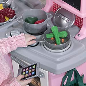 Step2 784200 Great Gourmet Kitchen | Durable Kids Kitchen Playset with Lights & Sounds | Pink Plastic Play Kitchen, 16…