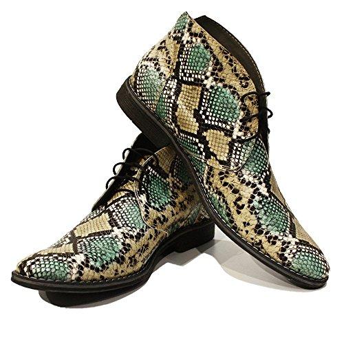 PeppeShoes Modello Flekko - Handgemachtes Italienisch Leder Herren Grün Stiefeletten Chukka Stiefel - Ziegenleder Geprägtes Leder - Schnüren