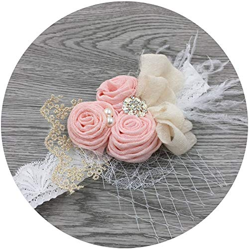 APRIL GIRL Flower Girl Dress, Lace Dress 3/4 Sleeve Dress (Pink Headband, S Headband)