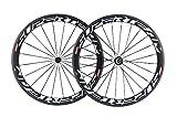 Superteam Carbon Fiber Road Bike Wheels 700C Clincher Wheelset 50mm Matte 23 width (White Decal)