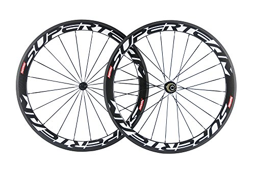 Superteam Carbon Fiber Road Bike Wheels 700C Clincher Wheelset 50mm Matte 23 Width (White Decal)