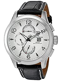 S.Coifman SC0104 Men's Leather Analog Display Swiss Quartz Black Watch