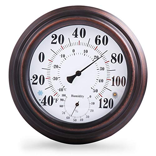 Indoor/Outdoor Thermometer Hygrometer For Room, Kitchen, Patio, Wall Metal Decorative No Battery Required Big Hanging Hygrometer Round (8''in diameter) Beautiful Indoor/Outdoor Thermometer Hygrometer