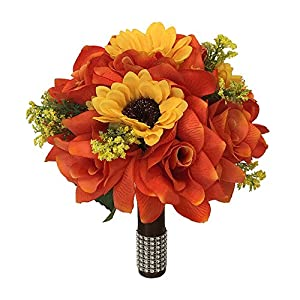 "9"" Wedding Bouquet - Orange roses and Yellow sunflowers - Artificial Flowers 75"