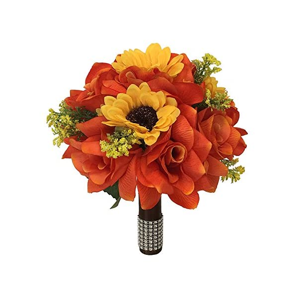 Angel Isabella 9″ Wedding Bouquet – Orange Roses and Yellow Sunflowers – Artificial Flowers