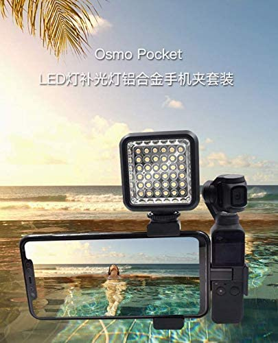 Yifant LED Video Light Flash Lamp Fill Light with Cold Shoe Mounts Phone Clip Expansion Bracket Kit for DJI OSMO Pocket Gimbal Camera Accessories