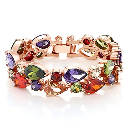 Gem Stone King Rose Tone Multi-Color Cubic Zirconia CZ Bracelet with Security Chain 7 Inch