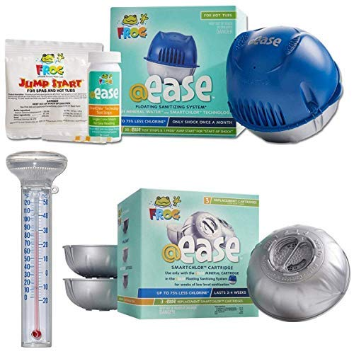 Elite Homeware Spa Kit - Frog @Ease Replacement SmartChlor Chlorine Cartridge - 3 Pack, Frog @Ease Floating Sanitizing System and Magnified Pool Spa Hot Tub Thermometer