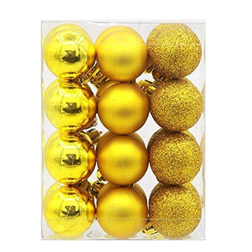 ELaco 24pcs Christmas Balls Ornaments Xmas Trees Wedding Parties Mini Tree Decorations (Day Xmas Ornament)