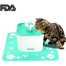 Opard Cat Water Fountain, 2L Automatic Electric Pet Drinking Bowl Waterer Dispenser for Cats and Small Dogs, Circular Water Purification with FDA Certified (Free Silicone Cushion) (2L Water Fountain)