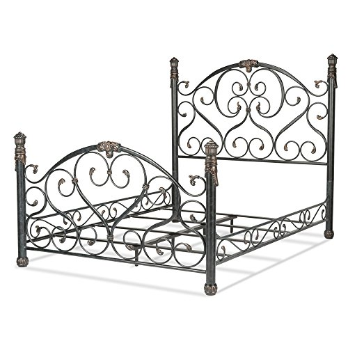 Duchess Complete Bed with Side Rails and Carved Castings, Cerulean Marble Finish, King (Allen Wesley Bed Set)